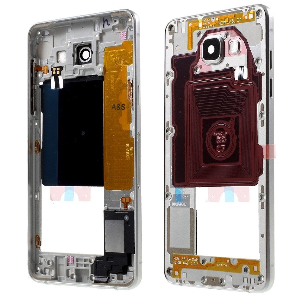 Samsung Galaxy A5 2016 Středový rámeček kryt stříbrný A510F