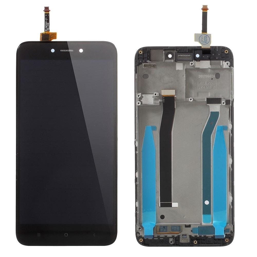 Xiaomi Redmi 4X LCD displej dotykové sklo černé včetně rámečku středního krytu