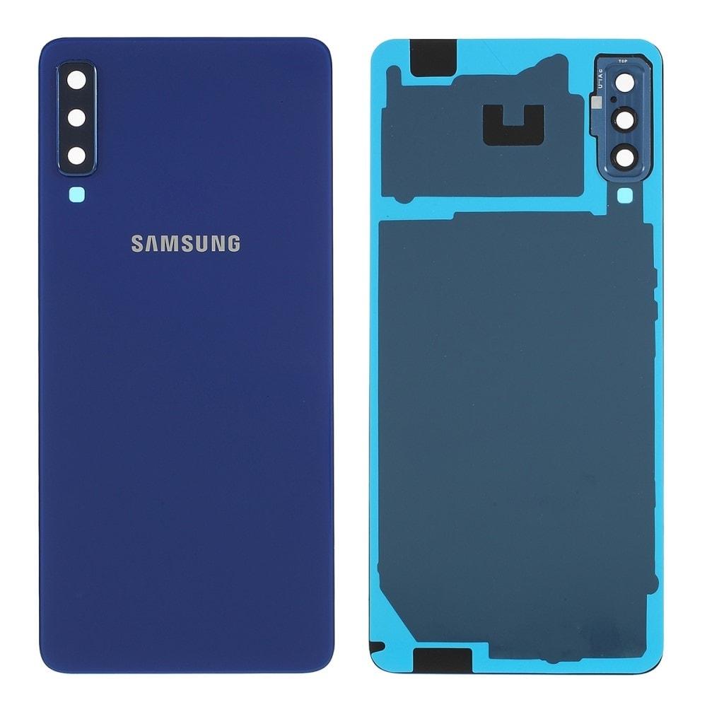 Samsung Galaxy A7 2018 zadní kryt baterie modrý osázený včetně krytky fotoaparátu A750