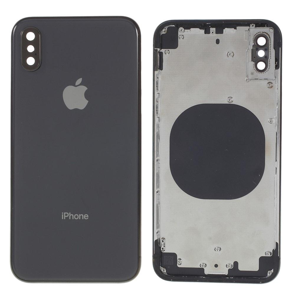 Apple iPhone X zadní kryt baterie černý včetně středového rámečku šedý