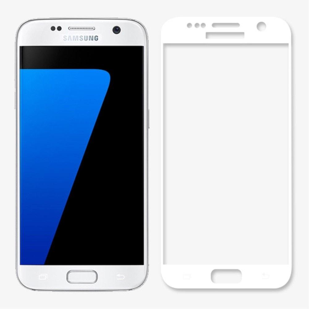 Samsung Galaxy S7 Ochranné 3D tvrzené sklo bílé G930F
