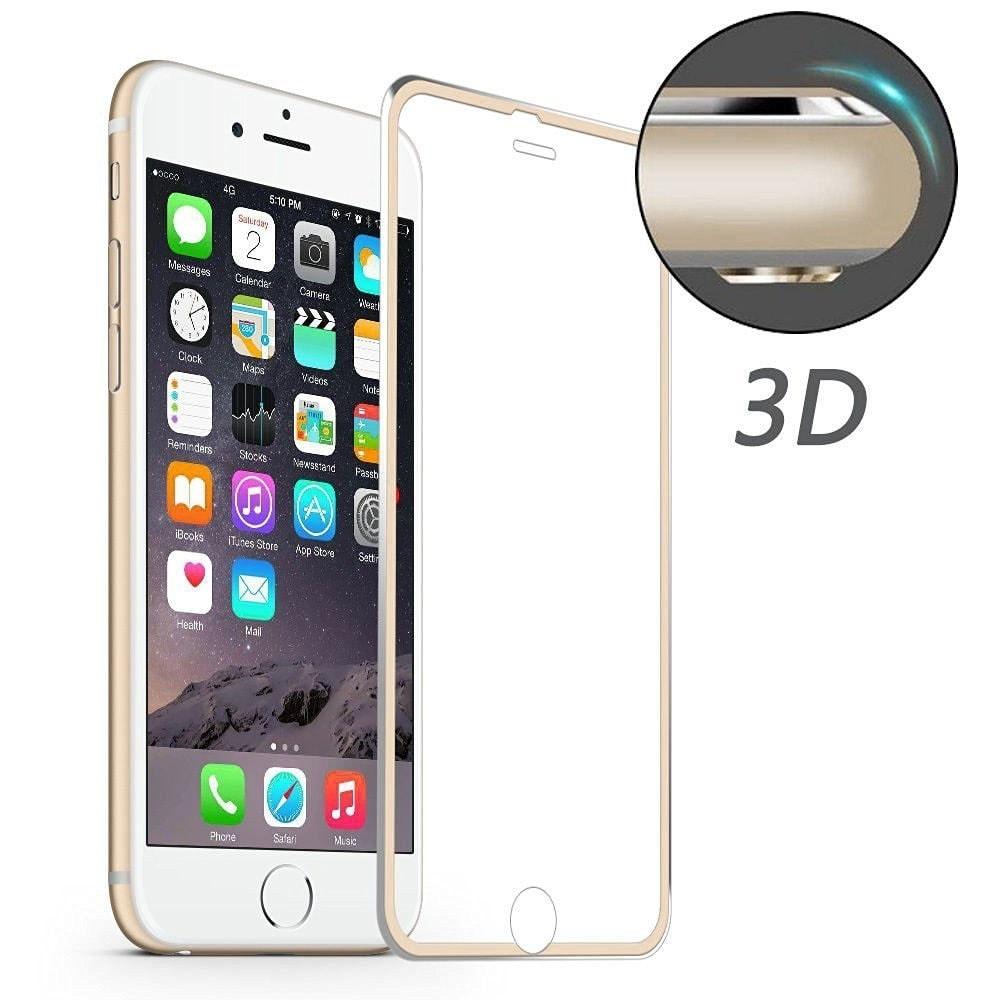 Apple iPhone 6 / 6S 3D Ochranné tvrzené sklo broušené hliníkové rohy Champagne - zlatá