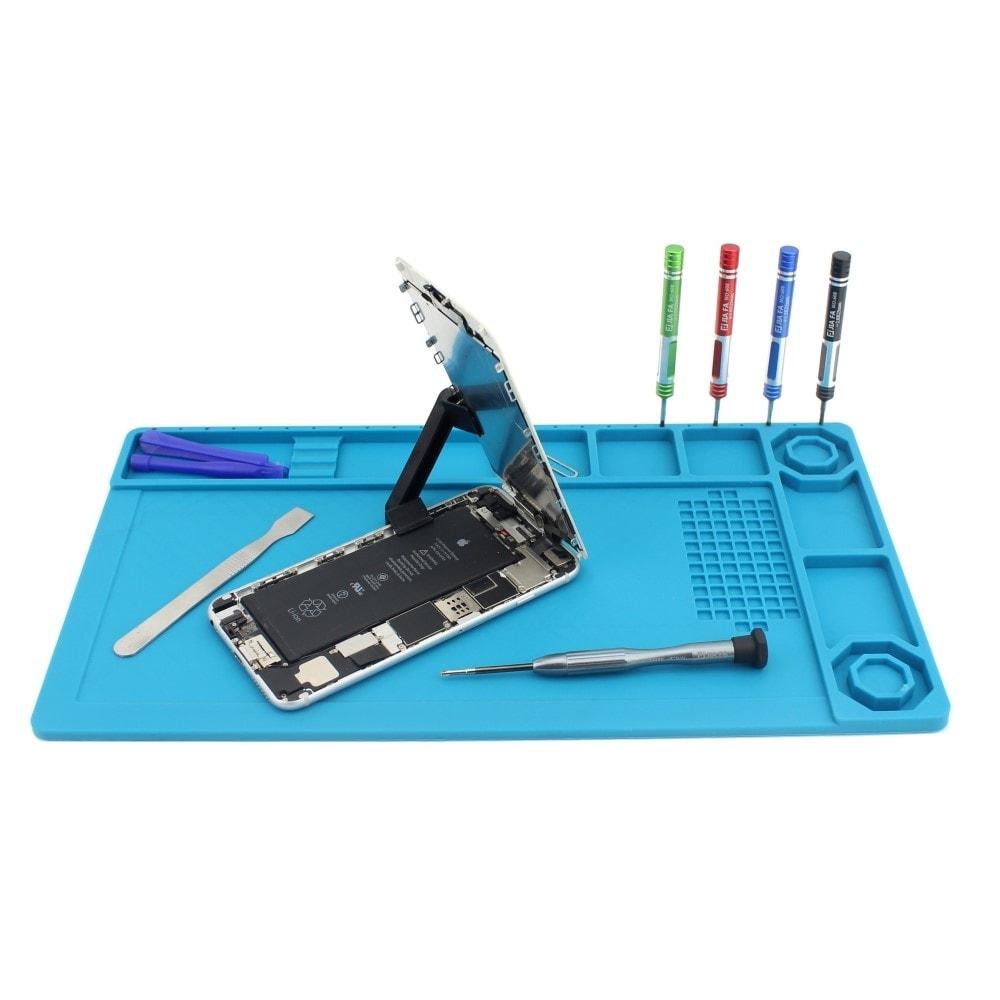 Silikonová podložka na servisní stůl antitepelná modrá s magnetickými boxy