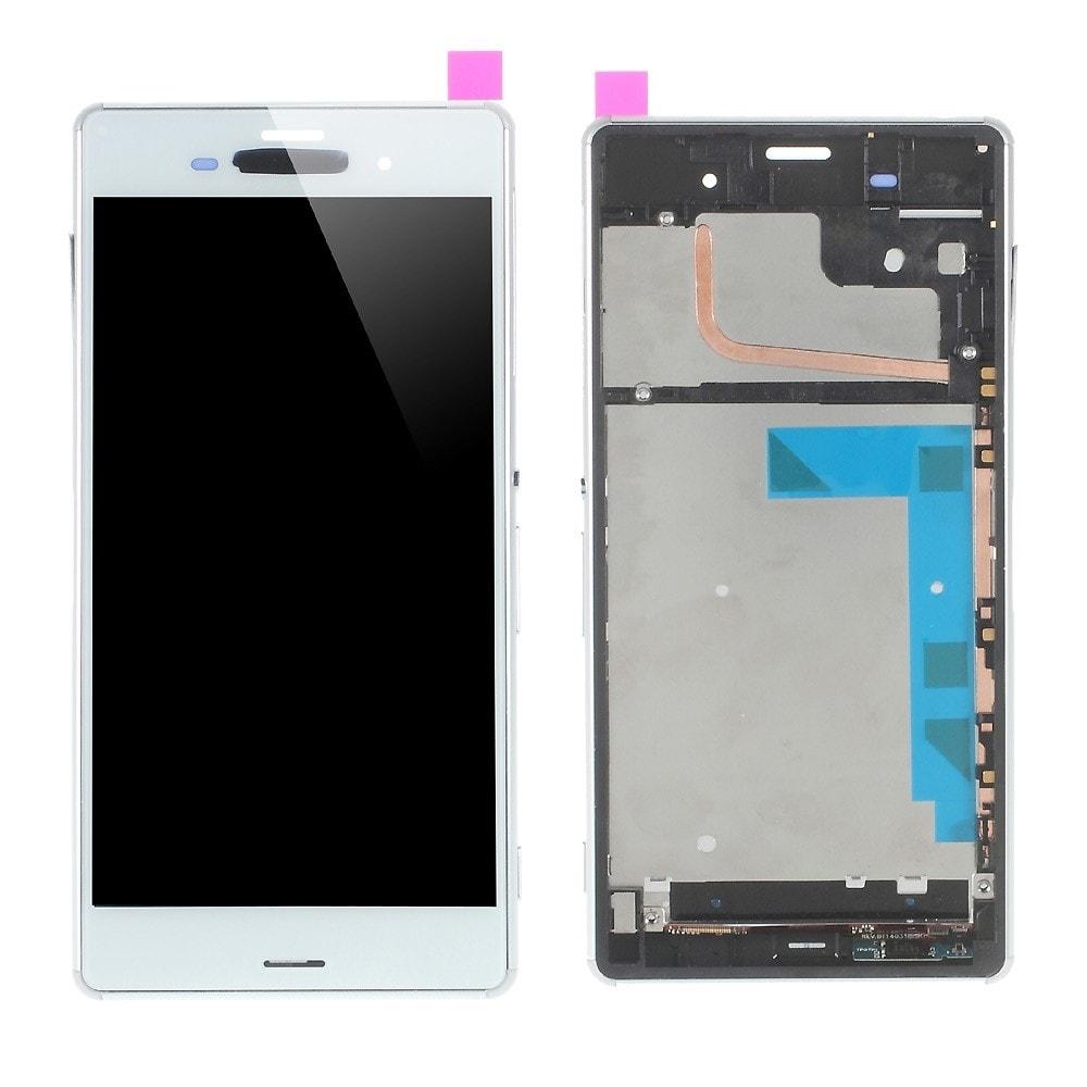 Sony Xperia Z3 LCD displej bílý včetně rámečku komplet stříbrný D6603