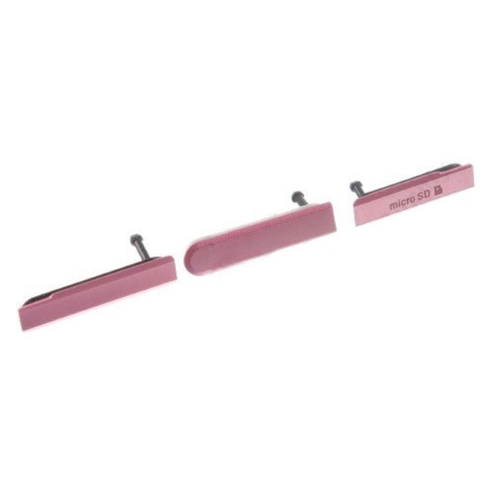 Sony Xperia Z1 Compact sada USB krytky sim nabíjení růžové D5503
