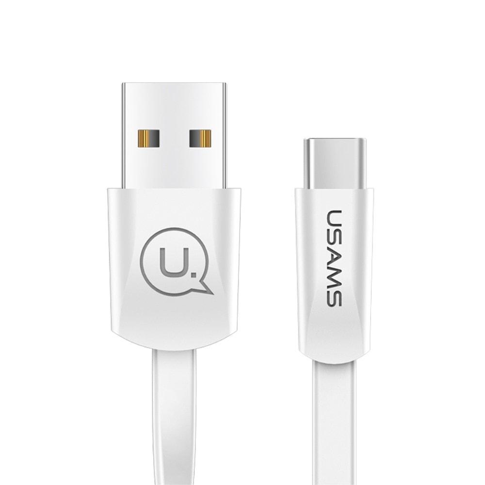USAMS Nabíjecí a datový plochý kabel bílý USB C US-SJ200 U2 1.2m 2A