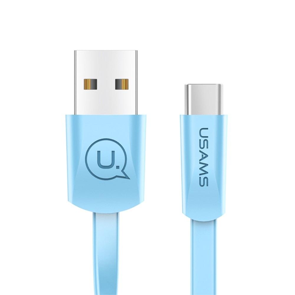 USAMS Nabíjecí a datový plochý kabel modrý USB C US-SJ200 U2 1.2m 2A