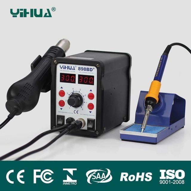 Kombinovaná pájecí stanice horký vzduch 2v1 s 2x LED displejem YIHUA 898BD