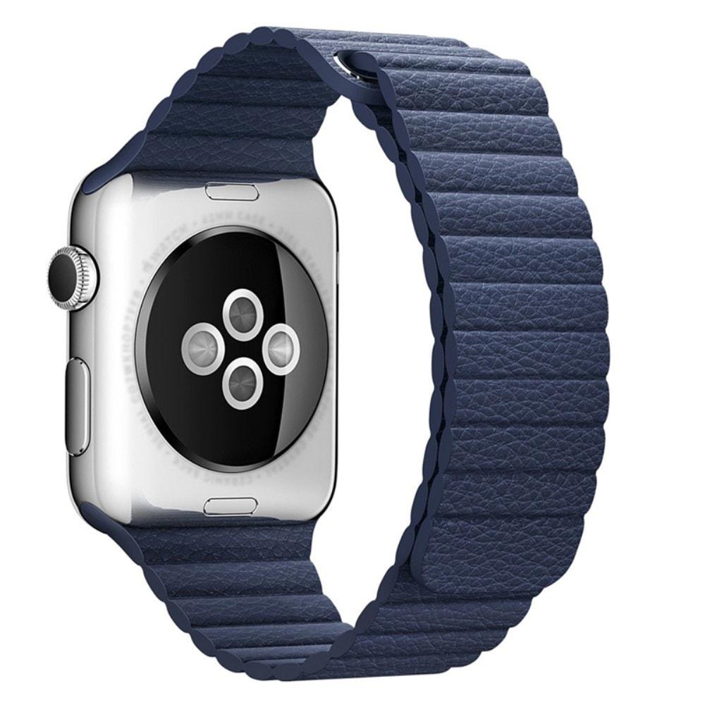 Apple Watch 42mm 44MM řemínek kožený provlékací modrý