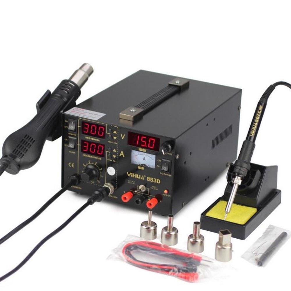 Kombinovaná pájecí stanice + horký vzduch + Laboratorní zdroj napájení baterií 853D