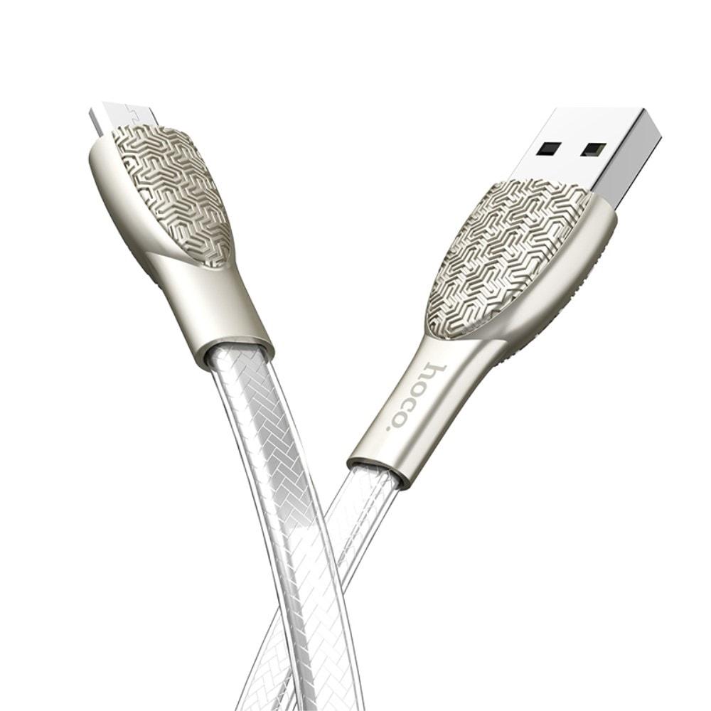 Nabíjecí a datový kabel micro usb 1,2m HOCO U52 stříbrný