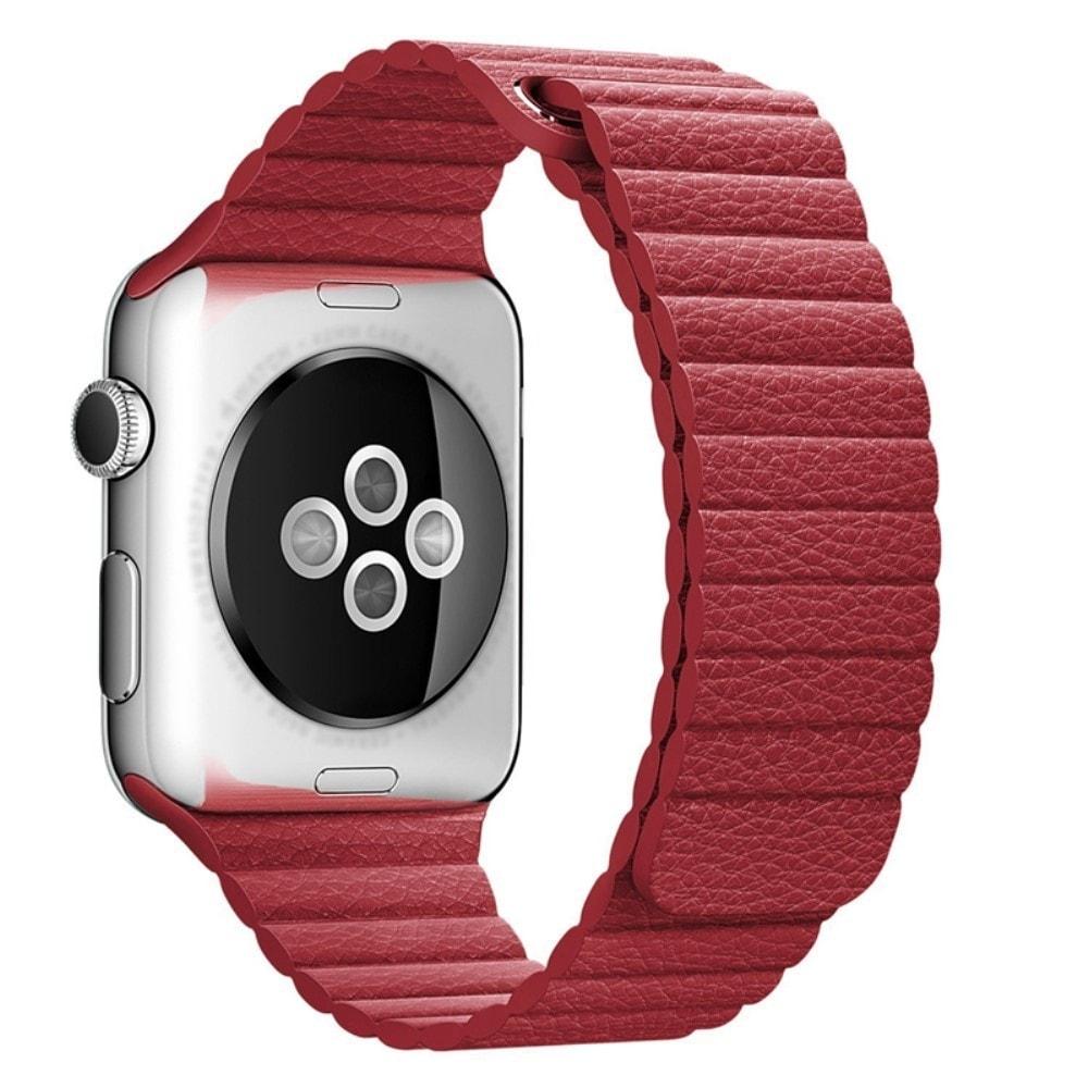 Apple Watch 42mm 44MM řemínek kožený provlékací červený